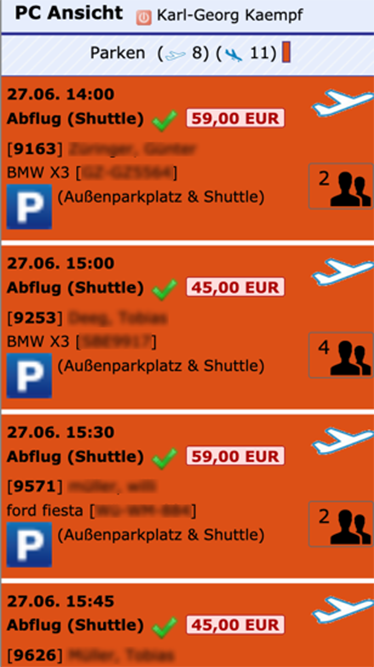 Airport-Parking-Software Responsive Terminliste